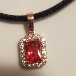 Red CZ choker necklace